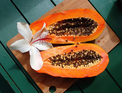 Fresh Papaya, Hawaii (Earthlandia) Tags: papaya fresh tropical fruit hawaii seeds farmers market maui