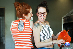 Skull Girlz (Felipe Beanz) Tags: skull tattoo girls brunet redhead brazil models brazilian color canon t5i glasses stripes fashion old school love