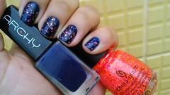 Top Fan - Archy + Let the Beat Drop -China Glaze (Raabh Aquino) Tags: azul glitter neon nails nailpolish navyblue unhas esmaltes
