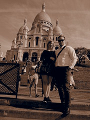 Ontop of Montmartre with Sacre Coeur in the background!