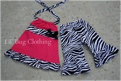 Zebra Pink (Lil' Bug Clothing) Tags: pink zebra halter aline capris
