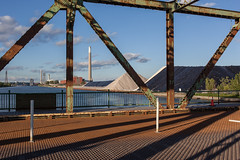 Portlands (Gary Kinsman) Tags: bridge shadow chimney toronto ontario canada rust industrial open empty powerstation postindustrial urbanlandscape cherrystreet shipchannel portlands 2015 basculebridge topographics canon35mmf2 newtopographics hearngeneratingstation canoneos5dmarkii canon5dmkii cherrystreetstrausstrunnionbasculebridge