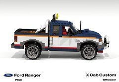 Ford Ranger X Cab Pickup (1996 - FNA Custom Offroad) (lego911) Tags: auto usa ford car america truck team model ranger lego stuck offroad render 1996 4wd utility pickup ute custom challenge 92 1990s 90s cad lugnuts v6 povray moc ldd p150 miniland lego911 stuckinthe90s