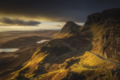 The Road Runs Through It (Vemsteroo) Tags: road morning sky mountains skye clouds sunrise landscape dawn scotland ancient isleofskye dramatic canon5d loch epic cloudscape peninsular mkiii trotternish quiraing thequiraing leefilters