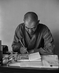 The Calligrapher (Tim Ravenscroft) Tags: calligrapher priest writing monochrome blackandwhite chionin buddhism temple kyoto japan