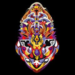 Maska Vernaton WM (Alexandre Poulin-Giroux) Tags: visage face masque mask yeux eyes vif lively éclatant shiny complex complexe order ordre art abstract abstrait energy énergie colorful expressif communication visual vision alepogi alexandre poulingiroux abstraction expression hot chaudes couleurs système skjema atifakuto psychedelic esprit décodé