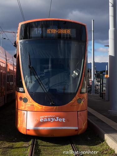 """Tram TPG Stadler Tango Be 6/10 1801 """" easyJet"""""""