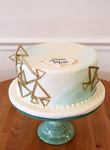 Gold Geometric and Painted Cake