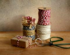 Small gift. (Through Serena's Lens) Tags: odc stringcordorrope gift brownpaper texture stilllife scissor driedhydrangea flower tabletop