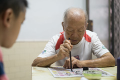 20160730_Caligraphy with Grandpa-2 (kiweep7) Tags: calligraphy brushpen grandparents