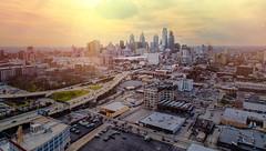 Path to Philly (Darren LoPrinzi) Tags: dji drone p4p aerial cityscape philadelphia philly phantom4pro phantom4proplus light sun sunset goldenhour urban cityhall buildings skyscrapers highway road leadinglines sunshine sunglare