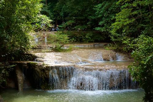 One of the many tiers of Erawan waterfall in Kanchanaburi province, Thailand
