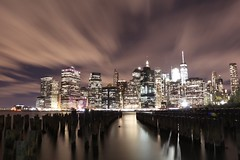 View From Brooklyn (Elise Lau) Tags: new york nyc city brooklyn night nighttime lights light streak long exposure sky line skyline dark bright tripod water building buildings cities manhattan island east coast