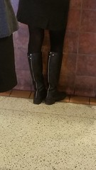 20170106_111925 (ph4eveh) Tags: black boots brown tights sexy legs woman candid