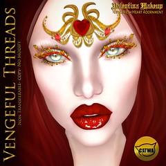 Vengeful Threads - Catwa - Valentina Makeup With Adornment_Ad (Vixn Dagger - Vengeful Threads) Tags: catwamakeup applier lashes eyeshadow lipstick valentinesday regal gold