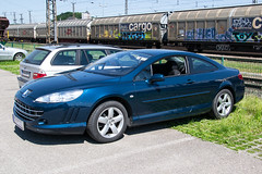 My Peugeot 407 Coup at the train station (Raffael Helmhart) Tags: mountain nature car hiking 407 coupe obersterreich peugeot coup austriasterreich salzkammergut upperaustria attnangpuchheim