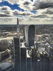 Hi London (katrien.lescrenier) Tags: city london skyline clouds gherkin iphone walky talky searcys