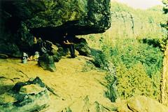 (katersocks) Tags: film analog crossprocessed sandstone sandstein wandern agfaprecisa100 schsischeschweiz praktical2 saxonyswitzerland boofe sandlochboofe