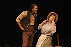 """Jeremiah Janes as Curly and Kay Balbye as Aunt Eller in the 2010 Music Circus production of """"Oklahoma!"""" at the Wells Fargo Pavilion July 27-August 1.  Photo by Charr Crail."""
