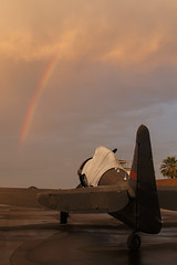 (Trent Bell) Tags: california sunset airport rainbow afterthestorm aircraft cable socal texan t6 upland northamerican 2015 snj5 n7296c