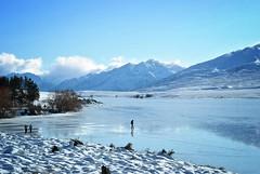 Walking on Water (M J Adamson) Tags: winter newzealand snow cold landscape canterbury nz winterlandscape mtsomers lakeclearwater