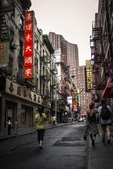 Chinatown (bat0urav3) Tags: street city nyc color sign walking restaurant daylight downtown chinatown afternoon chinese streetphotography sidewalk signage fujifilm daytime oriental humid postrain firepump filmlike 23mm x100s