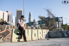 Chilling with OPTIQ in Downtown LA, California (B . O Photography) Tags: city people urban man rooftop canon buildings outside person graffiti la highway downtown skyscrapers citylife freeway downtownla producer dtla bigcity apress optiq urbanla