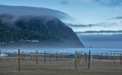 Seaside (acase1968) Tags: morning beach fog oregon lens ed sand nikon cloudy empty foggy d750 volleyball courts nikkor vr afs clearing partly f4g 24120mm