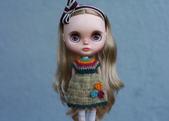 Dylan in a knitted dress (zsofianyu) Tags: japanese toy artistry takara tomy neo blythe doll winterish allure custom ooak fa for adoption sale freckles blond blonde long hair cute lovely handmade clothes outfit dress winter christmas floral knitting knitted etsy shop seller discount
