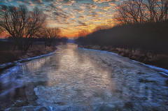 frozen-expored (wdterp) Tags: morning river ice frozen winter southskunkriver pella iowa sunrise cloudsstormssunsetssunrises