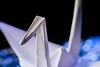 Origami (Jantje1972) Tags: water bokeh blue macro justwhitepaper mimicswater macromondays crane origami