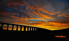 Arches of fire (images@twiston) Tags: archesoffire ribblehead viaduct ribbleheadviaduct puddle reflection reflections fire sky settle carlisle settlecarlisle yorkshire northyorkshire midland railway main line 1875 battymoss battywifehole sebastopol belgravia jericho scheduledancientmonument 24 arch arches ribblesdale dales 3peaks yorkshire3peaks parkfell golden morning national park yorkshiredalesnationalpark fields grass farm farmland moorland moor blue sunrise dawn clouds yellow orange red burning silhouette silhouettes silhouetted landscape imagestwiston twentyfour fells manmade stonework shadow shadows sweeping curve curved wideangle wide angle ultrawide darkarches godsowncountry