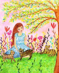 Cat Lady Painting Art By Sascalia (sascalia) Tags: cat painting cats art lady sascalia etsy artist