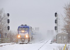 Onto the island of Montreal (Michael Berry Railfan) Tags: amt agencemétropolitainedetransport montreal lasalle quebec winter snow adirondacksub cp canadianpacific bombardier emd gmd f59phi amt1327 amt90
