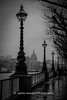 The view of St Paul's Cathedral from The Embankment (jameshowardphotography) Tags: black white water lamp post trees shadows shade london cathedral capital mist