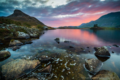 Dawn at Llynnau Cregennen (Michael Sowerby Photography) Tags: red dawn mountains lake water sunrise colour sky glow rocks llynnau cregennen barmouth cader idris morning early clouds outdoor countryside landscape northwales snowdonia uk mountain canon 5dmarkiii 1635mm wow