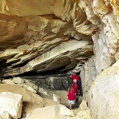 Exploring the sandstone quarries on Bruny Island.