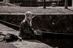 Smoking in the Harbor (Neta Bartal) Tags: county ireland blackandwhite bw dog man galway harbor nikon ship smoking april smoker 2015 d5000