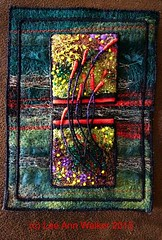 """Lee Ann Walker- 28-2"""" Fireflies. 7/28/2015. Machine felted and embroidered, poly sheers, metallics on commercial felt, wire thread and beads. Playing with mounting 2"""" squares on larger base to frame. (raannd) Tags: beads felt machineembroidery fireflies inchies inchie smallartwork machineembellisher twinchie leeannwalker"""