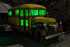 what did you learn at school today? eldorado canyon, nv. 2016. (eyetwist) Tags: eyetwistkevinballuff eyetwist night dodge schoolbus rusty techatticupmine eldoradocanyon nelson nevada abandoned ruins dark longexposure long exposure fullmoon desert nikon d7000 nikkor capturenx2 1024mmf3545g npy nocturne highdesert americana americantypology american typology dead desolate lonely derelict decay nv wideangle 1024mm shadow mojavedesert ruin lightpainting old vintage rust southwest techatticup mine ghosttown touristtrap coloradoriver grille hood patina chrome carmageddon corrugated tin green yellow school bus education alien glow truck lace curtains