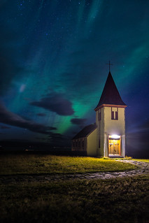 Northen lights at Hellnar's Church