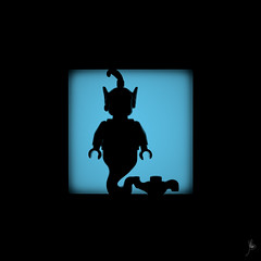 Shadow (293/100) - Genie (Ballou34) Tags: 2016 650d afol ballou34 canon eos eos650d flickr lego legographer legography minifigures photography rebelt4i stuckinplastic t4i toy toyphotography toys rebel stuck plastic blackwhite light shadow photgraphy enevucube minifigure 100shadows 2017 aladdin disney movie cartoon genie