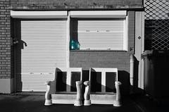 (Jean-Luc Léopoldi) Tags: bw cutout fauteuils trottoir sidewalk armchairs voletsfermés shutters eau bouteille soleil ombre rue street