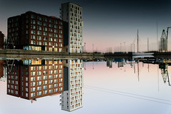 Reflection (Arvydas Gasparavicius) Tags: aalborg denmark europe reflections morning sunrise building architecture city water nature boat beautiful abstract summer upsidedown twist