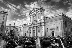 Scooters and Saints (Idreamofpies) Tags: rome italy baroque church saint chiesa di santa susanna alle terme diocleziano architecture quirinal hill scooters bikes buyildings parking clouds sky balck white monochrome blackandwhite columns stone american parish