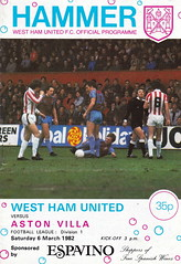 West Ham United vs Aston Villa - 1982 - Cover Page (The Sky Strikers) Tags: west ham united aston villa football league division one upton park hammer official programme 35p