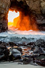 Pfeiffer Portal, Big Sur, California 050-1p (Rod Heywood) Tags: bigsur bigsurcoast coast ocean waves beach surf orange portal tunnel keyhole pfeifferbeach wind winter iconic scenic rock fire furnace outdoor sea rocks spray pacificocean arch sunlight light sunset