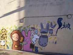 Ghostpatrol (Neil101) Tags: pink streetart rabbit art wall manchester graffiti monkey kodak ghost neil quarter colourful northern esper aryze wilkinson ghostpatrol z740 akiro neilwilkinson neil101 lauriepink