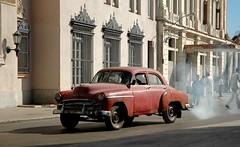 gasolina! (Vina the Great) Tags: city pink red cloud car havana cuba oldtimer cropped lahabana gasolina