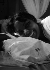 nicola (thephatone_pics) Tags: white black girl smile bed nicola pillow blanket childrenofsrilankabw
